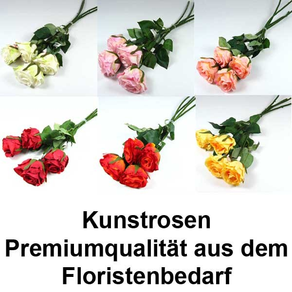 rose halboffen k nstlich seidenblume kunstblume 4 st ck ca 46cm l nge floristik basteln. Black Bedroom Furniture Sets. Home Design Ideas