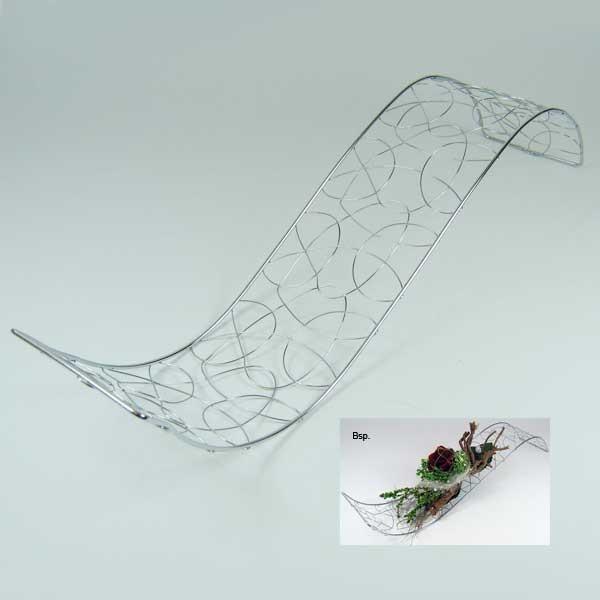 welle metall draht silber deko tischdeko hochzeit taufe 40 x 10cm floristik basteln. Black Bedroom Furniture Sets. Home Design Ideas