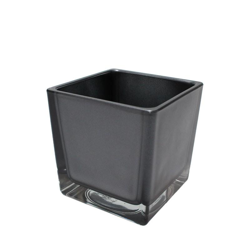 vierkant gef glas eckard pflanz gef pflanztopf 8cm anthrazit grau metallic floristik. Black Bedroom Furniture Sets. Home Design Ideas
