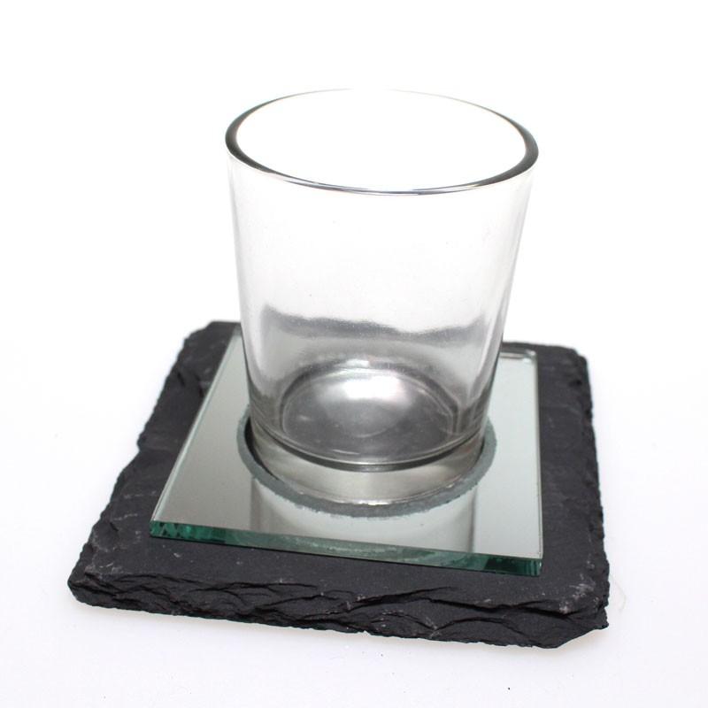 Spiegel Mit Teelichthaltern Set Teelichthalter Schieferplatte 10 x 10cm Mit Spiegel Und 1 Glas 001