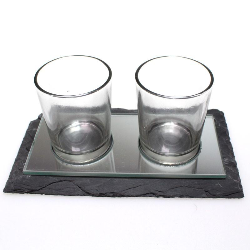 Spiegel Mit Teelichthaltern Set Teelichthalter Schieferplatte Gro 19 x 10cm Mit Spiegel Und 2 gl Sern