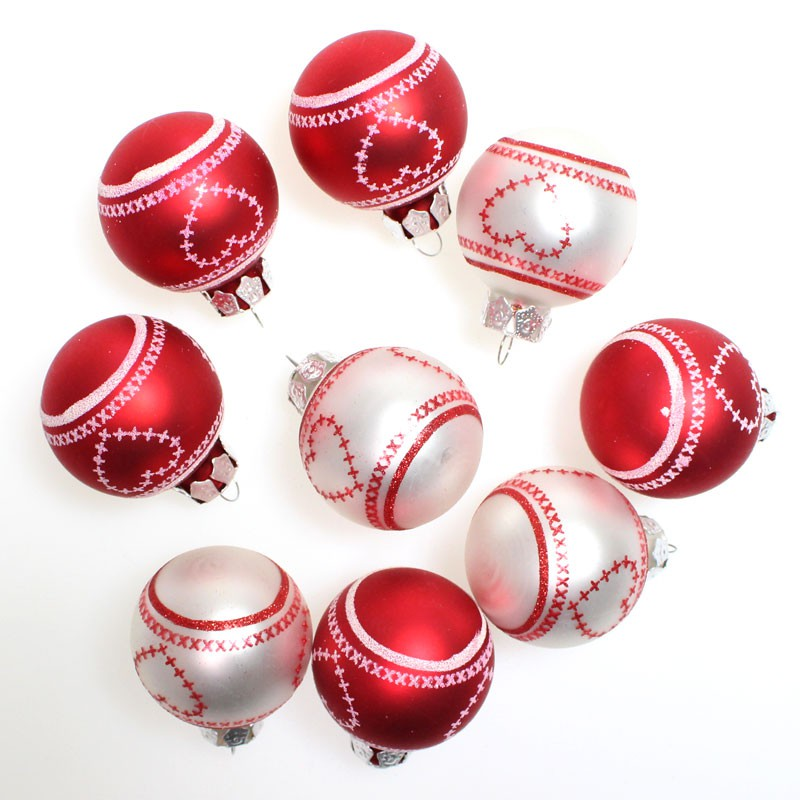 9 christbaumkugeln glas rot silber glitzerdruck weihnachtskugeln kugeln 40mm 4cm floristik. Black Bedroom Furniture Sets. Home Design Ideas